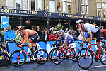The lead group featuring Nils Eekhoff (NED), Stefan Bissegger (SUI), Thomas Pidcock (GBR) and Samuele Battistella (ITA) climbs Parliment Street on the Harrogate circuit during the Men U23 Road Race of the UCI World Championships 2019 running 186.9km from Doncaster to Harrogate, England. 27th September 2019.<br /> Picture: Eoin Clarke | Cyclefile<br /> <br /> All photos usage must carry mandatory copyright credit (© Cyclefile | Eoin Clarke)