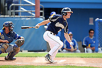 April 15,2010:  Outfielder Mitch Roy of the Genesee Community College (GCC) Cougars Men's Baseball Team at bat vs. Alfred State at Dwyer Stadium in Batavia, NY.  Photo Copyright Mike Janes Photography 2010