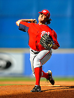 28 February 2011: Washington Nationals' pitcher Adam Carr in action during a Spring Training game against the New York Mets at Digital Domain Park in Port St. Lucie, Florida. The Nationals defeated the Mets 9-3 in Grapefruit League action. Mandatory Credit: Ed Wolfstein Photo