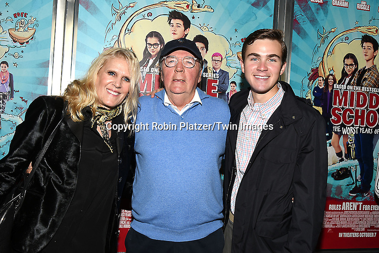 """Suzy Patterson, James Patterson and son Jack Patterson attend the """"Middle School: The Worst Years of My Life"""" New York Screening on October 1, 2016 at the Regal E-Walk in New York, New York, USA.<br /> <br /> photo by Robin Platzer/Twin Images<br />  <br /> phone number 212-935-0770"""