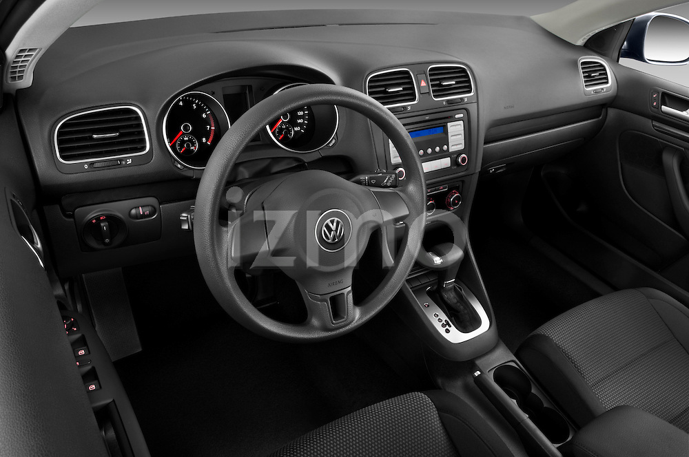 High angle dashboard view of a 2010 Volkswagen Jetta SportWagen S