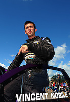 Aug. 21, 2011; Brainerd, MN, USA: NHRA pro stock driver Vincent Nobile during the Lucas Oil Nationals at Brainerd International Raceway. Mandatory Credit: Mark J. Rebilas-
