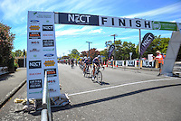 Alex Frame leads the peleton through Martinborough with four laps to go during stage three of the NZ Cycle Classic UCI Oceania Tour in Wairarapa, New Zealand on Tuesday, 24 January 2017. Photo: Dave Lintott / lintottphoto.co.nz