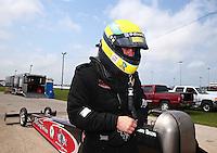 Apr 27, 2014; Baytown, TX, USA; NHRA top fuel dragster driver Larry Dixon during the Spring Nationals at Royal Purple Raceway. Mandatory Credit: Mark J. Rebilas-