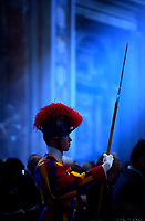 Pontifical Swiss Guard.Pope Francis the ceremony of the Good Friday Passion of the Lord Mass in Saint Peter's Basilica at the Vatican.15 April 2017