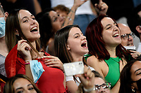 Italian fans sing the national anthem during the Qatar 2022 world cup qualifying football match between Italy and Lithuania at Citta del tricolore stadium in Reggio Emilia (Italy), September 8th, 2021. Photo Andrea Staccioli / Insidefoto