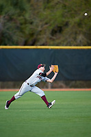 Minnesota Golden Gophers left fielder Riley Smith (18) catches a fly ball during a game against the Boston College Eagles on February 23, 2018 at North Charlotte Regional Park in Port Charlotte, Florida.  Minnesota defeated Boston College 14-1.  (Mike Janes/Four Seam Images)
