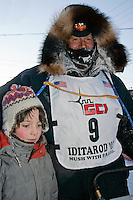 Thursday  March 15, 2007   ---- Nome, Alaska.  Jim Lanier and his son Jimmy at the finish line in Nome