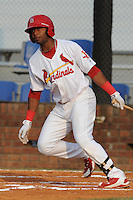 Johnson City Cardinals left fielder Anthony Garcia #44 swings at a pitch during the first game of the 2011 Championship Series between the Bluefield Blue Jays and the Johnson City Cardinals at Howard Johnson Field on September 3, 2011 in Johnson City, Tennessee.  The Cardinals won the game 4-3.  (Tony Farlow/Four Seam Images)