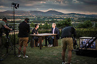 stage winner Daryl Impey (RSA/Mitchelton Scott) interviewed by Belgian National TV 'Sporza' for 'Vive le Velo' at the team hotel post-stage<br /> <br /> Stage 9: Saint-Étienne to Brioude (170km)<br /> 106th Tour de France 2019 (2.UWT)<br /> <br /> ©kramon