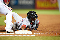 Glendale Desert Dogs Osvaldo Abreu (6), of the Washington Nationals organization, during a game against the Peoria Javelinas on October 18, 2016 at Peoria Stadium in Peoria, Arizona.  Peoria defeated Glendale 6-3.  (Mike Janes/Four Seam Images)