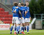 St Johnstone v St Mirren……29.08.20   McDiarmid Park  SPFL<br />Stevie May celebrates his goal with Craig Conway<br />Picture by Graeme Hart.<br />Copyright Perthshire Picture Agency<br />Tel: 01738 623350  Mobile: 07990 594431