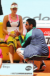 Irina-Camelia Begu whit her coach during Madrid Open Tennis 2015 match.May, 6, 2015.(ALTERPHOTOS/Acero)