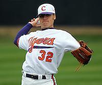 Clemson pitcher Trey Delk warms up prior to a game between the Clemson Tigers and Mercer Bears on Feb. 24, 2008, at Doug Kingsmore Stadium in Clemson, S.C. Photo by: Tom Priddy/Four Seam Images