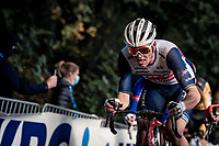 eventual race winner Mads Pedersen (DEN/Trek-Segafredo) up the Kemmelberg cobbles <br /> <br /> 82nd Gent-Wevelgem in Flanders Fields 2020 (1.UWT)<br /> 1 day race from Ieper to Wevelgem (232km)<br /> <br /> ©kramon
