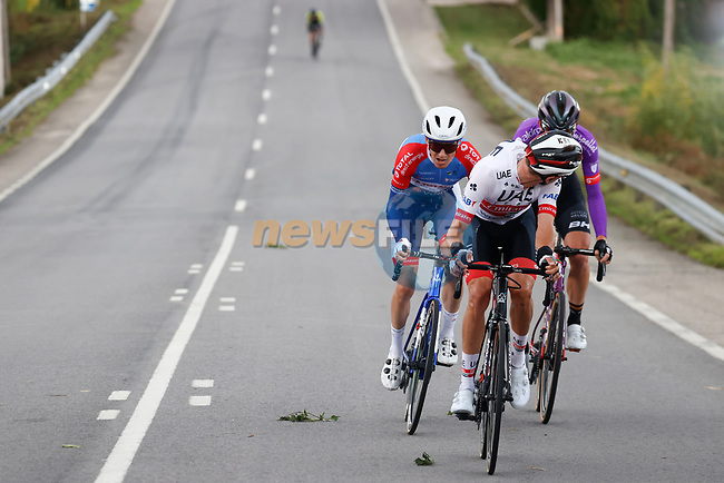 The breakaway including Jasper Philipsen (Bel) UAE Team Emirates and Julien Simon (FRA) Total Direct Energie during Stage 15 of the Vuelta Espana 2020, running 230.8km from Mos to Puebla de Sanabria, Spain. 5th November 2020. <br /> Picture: Luis Angel Gomez/PhotoSportGomez | Cyclefile<br /> <br /> All photos usage must carry mandatory copyright credit (© Cyclefile | Luis Angel Gomez/PhotoSportGomez)