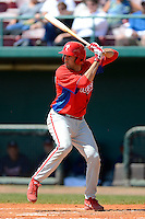 Philadelphia Phillies infielder Chris Serritella (12) during a minor league Spring Training game against the Atlanta Braves at Al Lang Field on March 14, 2013 in St. Petersburg, Florida.  (Mike Janes/Four Seam Images)