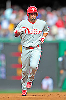 13 April 2009: Philadelphia Phillies' outfielder Shane Victorino on the basepath to third during the Washington Nationals' Home Opener at Nationals Park in Washington, DC. The Nats fell short in their 9th inning rally, losing 9-8, as the visiting Phillies handed the Nats their 7th consecutive loss of the 2009 season. Mandatory Credit: Ed Wolfstein Photo