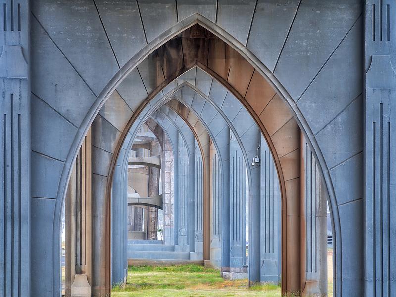 Yaquina Bay bridge from underneath. Newport, Oregon
