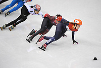 OLYMPIC GAMES: PYEONGCHANG: 22-02-2018, Gangneung Ice Arena, Short Track, A-Final 1000m Ladies, Shim Sukhee (KOR), Kim Boutin (CAN), Suzanne Schulting (NED), ©photo Martin de Jong
