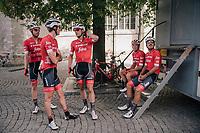 Jasper Stuyven (BEL/Trek-Segafredo) & teammates pre-race as he is about to race in his hometown of Leuven (BEL)<br /> <br /> 52nd GP Jef Scherens - Rondom Leuven 2018 (1.HC)<br /> 1 Day Race: Leuven to Leuven (186km/BEL)
