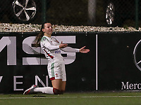 Hannah Eurlings (9 OHL) protests during a female soccer game between Oud Heverlee Leuven and Sporting de Charleroi on the seventh matchday of the 2020 - 2021 season of Belgian Womens Super League , sunday 15 th of November 2020  in Heverlee , Belgium . PHOTO SPORTPIX.BE | SPP | SEVIL OKTEM