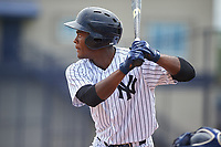 GCL Yankees West center fielder Evan Alexander (7) at bat during the second game of a doubleheader against the GCL Yankees East on July 19, 2017 at the Yankees Minor League Complex in Tampa, Florida.  GCL Yankees West defeated the GCL Yankees East 3-1.  (Mike Janes/Four Seam Images)