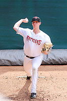 Wisconsin Timber Rattlers pitcher Bowden Francis (33) warms up in the bullpen prior to a Midwest League game against the Lansing Lugnuts on May 8, 2018 at Fox Cities Stadium in Appleton, Wisconsin. Lansing defeated Wisconsin 11-4. (Brad Krause/Four Seam Images)