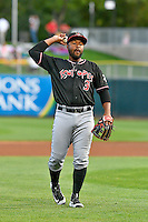 Albuquerque Isotopes third baseman Chris Nelson (3) during the game against the Salt Lake Bees in Pacific Coast League action at Smith's Ballpark on August 29, 2016 in Salt Lake City, Utah. The Isotopes defeated the Bees 9-4.  (Stephen Smith/Four Seam Images)
