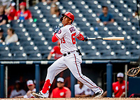 27 February 2019: Washington Nationals infielder Luis Garcia in action against the Houston Astros at the Ballpark of the Palm Beaches in West Palm Beach, Florida. The Nationals defeated the Astros 14-8 in their Spring Training Grapefruit League matchup. Mandatory Credit: Ed Wolfstein Photo *** RAW (NEF) Image File Available ***