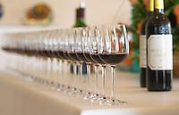 Wine tasting. Wine glasses. Chateau Pichon Longueville Comtesse de Lalande, pauillac, Medoc, Bordeaux, France