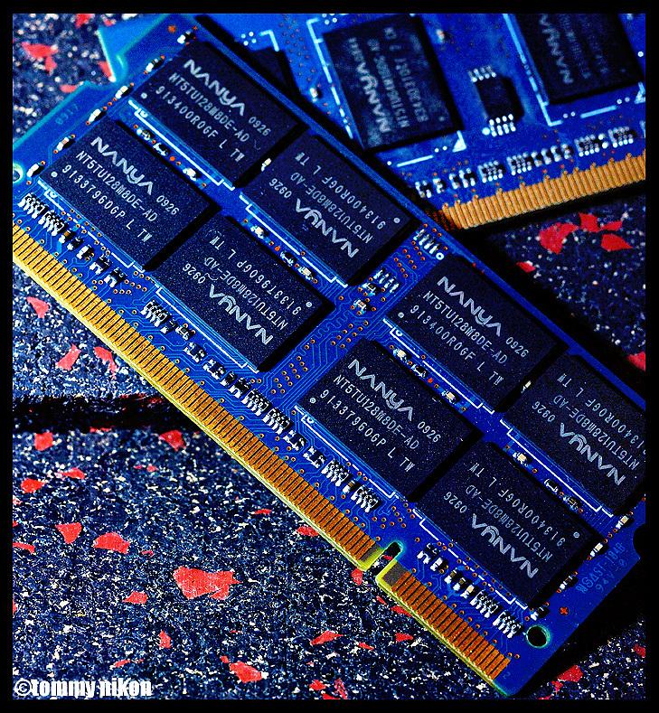Computer memory modules close-up