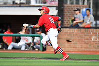 Johnson City Cardinals shortstop Irving Lopez (18) runs to first base during a game against the Danville Braves at TVA Credit Union Ballpark on July 23, 2017 in Johnson City, Tennessee. The Cardinals defeated the Braves 8-5. (Tony Farlow/Four Seam Images)