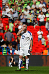 Tranmere Rovers 1 Forest Green Rovers 3, 14/05/2017. Wembley Stadium, Conference play off Final. Steve McNulty of Tranmere Rovers reacts as Forest Green fans celebrate their teams third goal, during the Vanarama Conference play off Final  between Tranmere Rovers v Forest Green Rovers at the Wembley. Photo by Paul Thompson.
