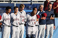 Mahoning Valley Scrappers manager Travis Fryman (far right), pitching coach Ken Rowe lead the line for the national anthem during a game vs. the Batavia Muckdogs at Dwyer Stadium in Batavia, New York June 28, 2010.   Batavia defeated Mahoning Valley 11-3.  Photo By Mike Janes/Four Seam Images