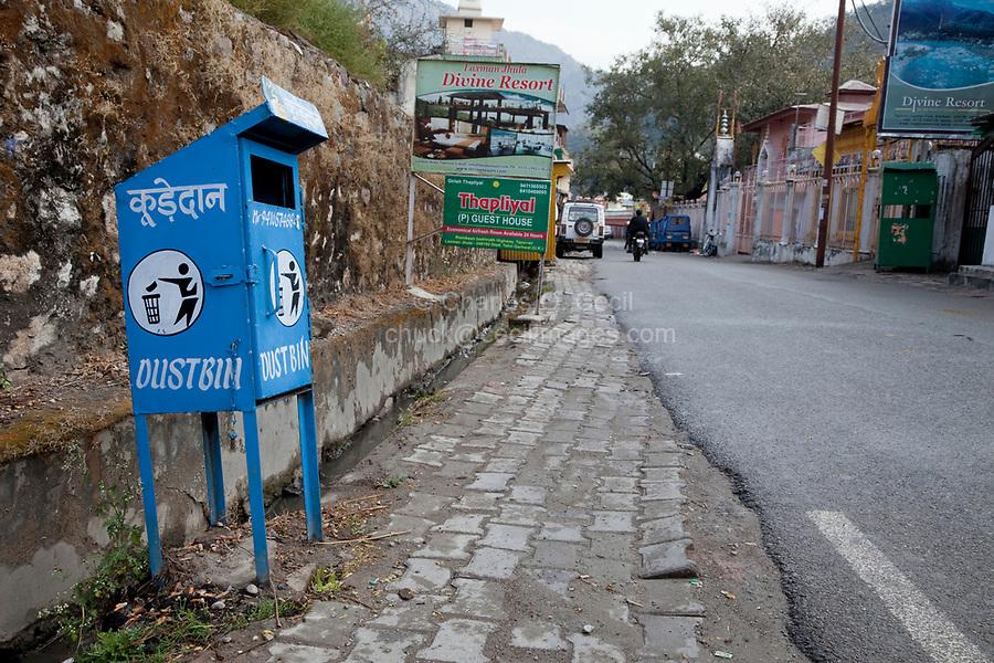 India, Rishikesh.  Street Scene, with Dust Bin (Garbage Can).