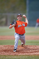 Miami Marlins Karl Craigie (80) during a Minor League Spring Training game against the St. Louis Cardinals on March 26, 2018 at the Roger Dean Stadium Complex in Jupiter, Florida.  (Mike Janes/Four Seam Images)