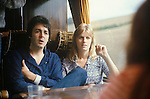 """Paul and Linda McCartney tour bus 1970s UK. The photographs from this set were taken in 1975. I was on tour with them for a children's """"Fact Book"""". This book was called, The Facts about a Pop Group Featuring Wings. Introduced by Paul McCartney, published by G.Whizzard. They had recently recorded albums, Wildlife, Red Rose Speedway, Band on the Run and Venus and Mars. I believe it was the English leg of Wings Over the World tour. But as I recall they were promoting,  Band on the Run and Venus and Mars in particular."""
