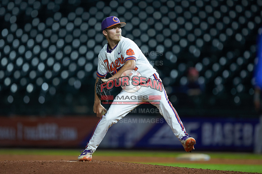 Clemson Tigers relief pitcher Ryley Gilliam (44) in action against the Duke Blue Devils in Game Three of the 2017 ACC Baseball Championship at Louisville Slugger Field on May 23, 2017 in Louisville, Kentucky. The Blue Devils defeated the Tigers 6-3. (Brian Westerholt/Four Seam Images)