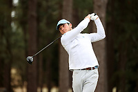PINEHURST, NC - MARCH 02: tees off on the second holeDougie Ergood of the University of North Carolina at Pinehurst No. 2 on March 02, 2021 in Pinehurst, North Carolina.