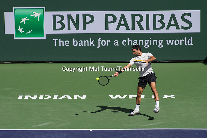 March 17, 2018: Roger Federer (SUI) defeated Borna Coric (CRO) 5-7, 6-4, 6-4 in Wells Tennis Garden in Indian Wells, California. ©Mal Taam/TennisClix/CSM
