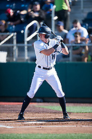 Everett AquaSox left fielder Charlie McConnell (19) at bat during a Northwest League game against the Tri-City Dust Devils at Everett Memorial Stadium on September 3, 2018 in Everett, Washington. The Everett AquaSox defeated the Tri-City Dust Devils by a score of 8-3. (Zachary Lucy/Four Seam Images)