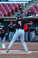 Lansing Lugnuts outfielder Lane Thomas (9) at the plate during a Midwest League game against the Wisconsin Timber Rattlers on April 29th, 2016 at Fox Cities Stadium in Appleton, Wisconsin.  Wisconsin defeated Lansing 2-0. (Brad Krause/Four Seam Images)