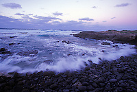 Waves at sunset, Kaena Point, North Shore of Oahu