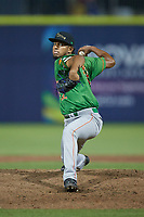 Down East Wood Ducks relief pitcher Abdiel Mendoza (22) in action against the Kannapolis Cannon Ballers at Atrium Health Ballpark on May 5, 2021 in Kannapolis, North Carolina. (Brian Westerholt/Four Seam Images)