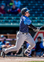 18 July 2018: Trenton Thunder infielder Billy Fleming singles in the first inning against the New Hampshire Fisher Cats at Northeast Delta Dental Stadium in Manchester, NH. The Fisher Cats defeated the Thunder 3-2 in a 7-inning, second game of the day. Mandatory Credit: Ed Wolfstein Photo *** RAW (NEF) Image File Available ***