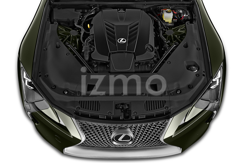 Car Stock 2021 Lexus LC 500-Base 2 Door Convertible Engine  high angle detail view