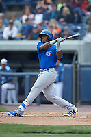 Nelson Velazquez (36) of the South Bend Cubs follows through on his swing against the West Michigan Whitecaps at Fifth Third Ballpark on June 10, 2018 in Comstock Park, Michigan. The Cubs defeated the Whitecaps 5-4.  (Brian Westerholt/Four Seam Images)
