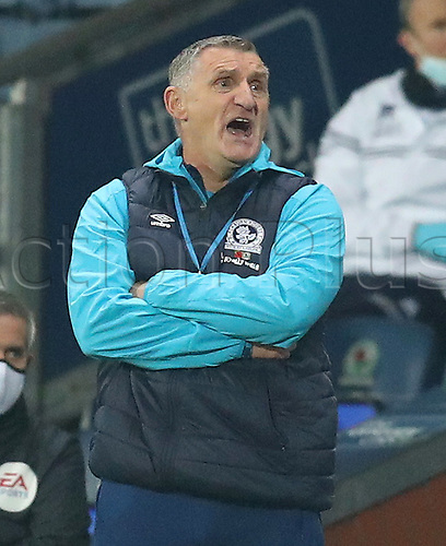 7th November 2020; Ewood Park, Blackburn, Lancashire, England; English Football League Championship Football, Blackburn Rovers versus Queens Park Rangers; Blackburn Rovers manager Tony Mowbray  reacts to the action