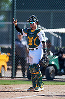 Oakland Athletics catcher Skyler Weber (36) during an Instructional League game against the Cincinnati Reds on September 29, 2017 at Lew Wolff Training Complex in Mesa, Arizona. (Zachary Lucy/Four Seam Images)